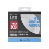 Pack 3 Downlight Extraplano LED Redondo Blanco 8W 7HSevenOn