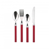 Set Cuberteria de Acero Inoxidable RENBERG Happie Red 24pz - Rojo
