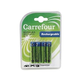 Pack de 4 pilas recargable carrefour hr03 aaa ni mh 600 for Oferta pilas recargables