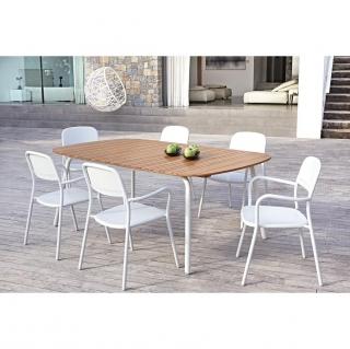 Mesa de aluminio y madera oval 200x100 hyba las mejores - Mesa plegable jardin carrefour ...