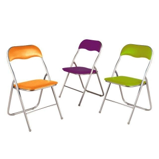 Silla plegable de metal berenjena las mejores ofertas for Oferta sillas plegables