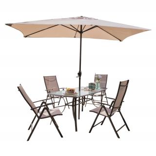 Conjunto de acero mesa 4 sillones 1 parasol m laga for Mesas y sillas de jardin carrefour