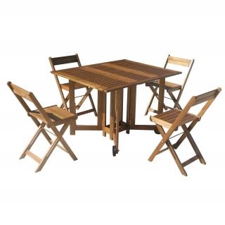Conjunto de madera de acacia mesa 4 sillas plegables for Conjunto de mesa y sillas de jardin