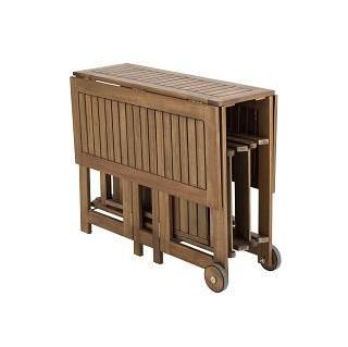 Conjunto de madera de acacia mesa 4 sillas plegables for Mesa y sillas para balcon