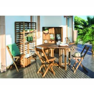 Conjunto de madera de acacia mesa 4 sillas plegables for Sillas de jardin plegables