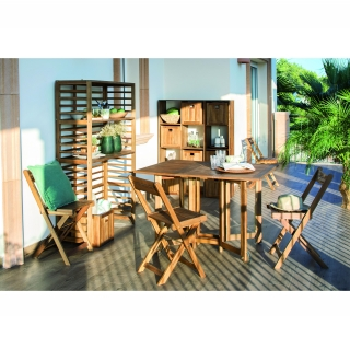 Conjunto de madera de acacia mesa 4 sillas plegables for Mesa plegable 4 sillas