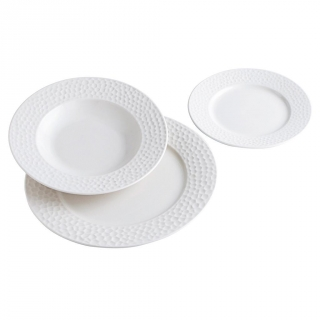 Set Vajillas Redondo de Bon China NACAR 18pz - Blanco