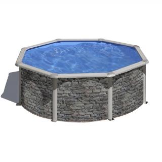 Piscina redonda imitaci n piedra 350x120cm las mejores for Filtro piscina carrefour