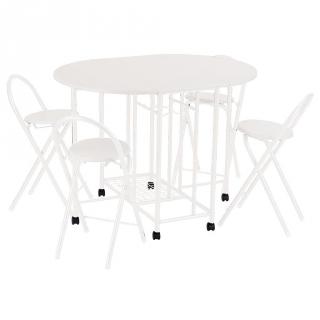 Mesa cocina de mdf con 4 taburetes plegables 83x110x80cm - Taburetes de cocina plegables ...