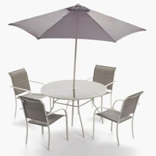 Set comedor redondo mesa 4 sillones parasol baiona for Sillones mesa comedor