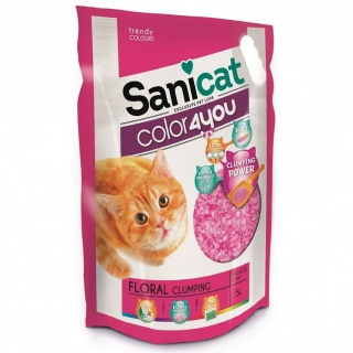Arena para Gatos Sanicat Color4You Rosa 5L