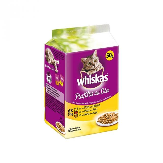 Comida para Gatos Whiskas con Carne Blanca en Salsa 6 Bolsitas de 50 gr