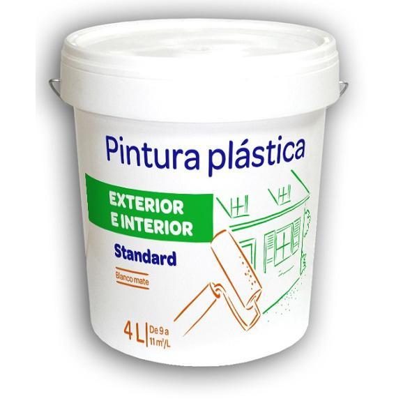 Pintura Plástica Interior-Exterior 4L Blanca Mate Standard