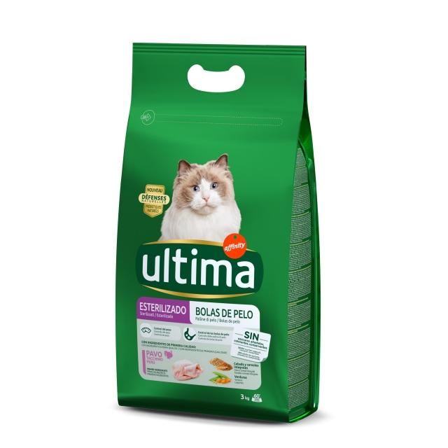 Alimento Seco para Gato Ultima Esterilizados Bolas de pelo 3 Kg