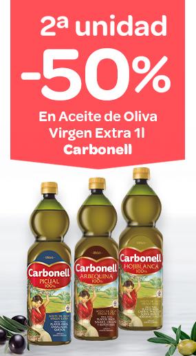 2ª unidad -50% en Aceite de Oliva Virgen Extra Carbonell 1 litro