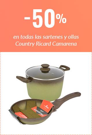 50% en toda la gama de sartenes y ollas COUNTRY RICARD CAMARENA