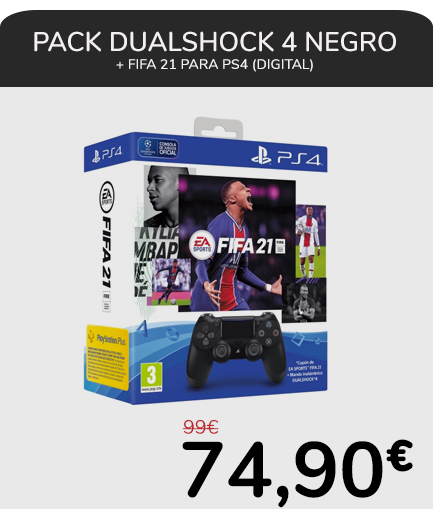 Pack DualShock 4 Negro + FIFA 21 para PS4 (digital)