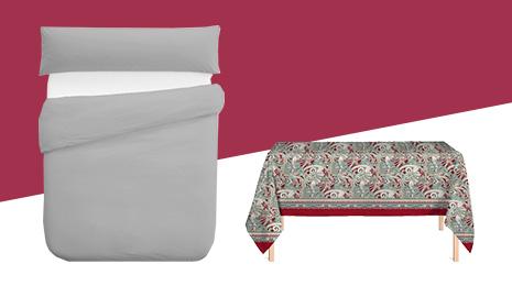 Hasta -65% En ropa de cama, manteles y textil del hogar