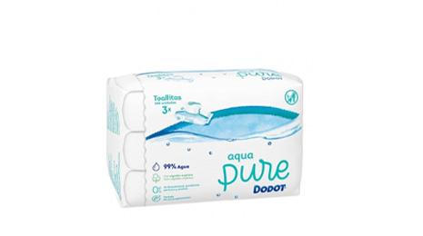 Toallitas de Bebé con Tapa Aqua Pure DODOT Pack 3x48