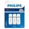 Pack 3 Memorias Usb Philips 2.0 32GB - Blanco