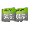 Pack MicroSD PNY 2x64GB Elite con Adapatador