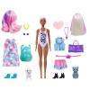 Barbie - Color Reveal de la Playa a la Fiesta, muñeca que revela sus colores con agua, incluye ropa y accesorios