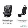 Silla Coche Grupo 0+/1/2/3, Giratoria 360º + Funda Asiento Maxi