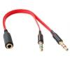 Cable Adaptador Estereo Audio Y Splitter 1 Jack Hembra A 2 Macho De 3,5mm Rojo