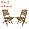 Pack 2 Sillas Jardín Teca Plegables | Madera Teca Grado A | Tamaño: 51x55x90 Cm | Tratamiento Al Agua Aplicado