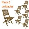 Pack 6 Sillas Jardín Teca Plegables | Madera Teca Grado A | Tamaño: 51x55x90 Cm | Tratamiento Al Agua Aplicado