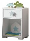 Cabezal Con Mesita Infantil Color Blanco Dormitorio Shine Estrella Gris Habitación