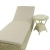 Conjunto Muebles Jardín | Tumbona Reclinable Y Mesa Auxiliar | Blanco Envejecido | Aluminio Y Rattán Sintético