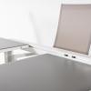 Conjunto De Jardín, Mesa Extensible 160/210 Cm Y 6 Sillones Reclinables   Aluminio Blanco   Textilene Taupé   Cristal Mate, Templado Y Grueso Color Taupé   Portes Gratis