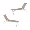 Pack De 2 Tumbonas De Piscina Reclinables | Aluminio Blanco Y Textilene Taupé | Tamaño: 195x55x50 Cm | Portes Gratis