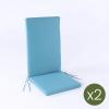 Pack 2 Cojines Para Sillones De Jardín Reclinables Color Turquesa | Tamaño 114x48x5 Cm | Repelente Al Agua | Desenfundable