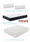 Pack Colchon Town Pocket 150x190 + Canape Abatible Madera 19 Color Blanco + 2 Almohadas Lider Flex