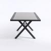 Mesa Auxiliar De Jardín, Tamaño: 80x140x65 Cm, Aluminio Reforzado Color Antracita, Tablero Cristal Templado Estilo Cerámica