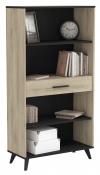 Estanteria Librería 1 Cajon Despacho Oficina Habitacion Estudio Industrial Roble Y Negro 161x83x36 Cm