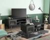 Mesa Centro Salon Comedor Estilo Industrial Color Negro Mate 1 Puerta 2 Huecos 45x80x48 Cm