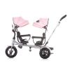 Triciclo Gemelar  Con Ruedas De Goma Y Asiento Delantero Giratorio 2 Play Peony Pink De Chipolino