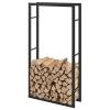 [en.casa]® Soporte Para Leña - 75 X 150 X 25 Cm - Estante De Leña - Acero Recubrimiento En Polvo - Negro