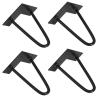 [en.casa]® Set De 4 Patas De Acero - Hairpin Legs - Negro - 15 Cm - 2 Varillas
