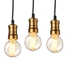 [lux.pro]® Set De 3 Lámparas De Techo Moderna Negro Metal Edison Vintage (e27) Longitud 125cm