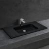 [neu.haus] Lavabo Lujoso En Forma Rectangular - (90x46cm) Negro - Lavabo Integrado - Mineral Fundido