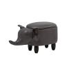 Puf En Piel Sintética Gris Oscuro Elephant