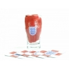 England Official - Kit Para Mni Bar (incluye 1 Vaso De Cerveza, 4 Posavasos Y 1 Paño) (modelo Único) (rojo/blanco)