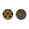 Conjunto De 2 Mesas Auxiliares Circulares Decó Negro - Dorado