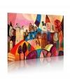 Cuadro Pintado - Pueblo De Colores  , Tamaño - 90x60