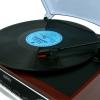 Camry Cr1113 Tocadiscos Retro 33-45-78 Rpm, Radio Am-fm, Estéreo, Despertador, Estilo Vintage, Aux 3,5 Mm, Pantalla Lcd