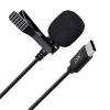 Micrófono Corbata Usb-c Grabación Omnidireccional Reducción Sonido Negro